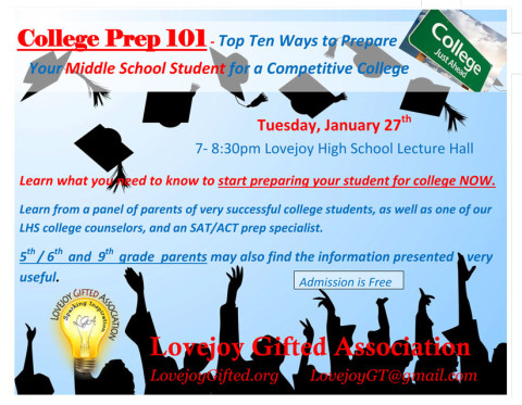 College Prep 101 Panel, January 27, 2015