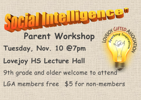 LGA Presents Social Intelligence Parent Workshop – Nov. 10